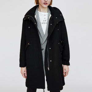 NWT Zara Oversized Hooded Black Parka Jacket S / M